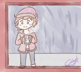 Drinking coffee in a rainy day by desuttyuio