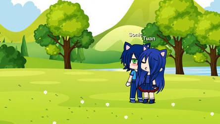 Female Tuan kiss Sonic by SonicLink1000