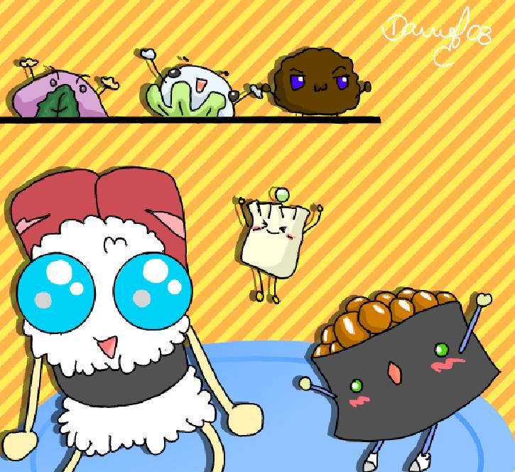 Dancing Sushi by Danlol-chan on DeviantArt