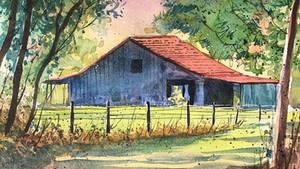 Farm Warehouse   watercolour landscape painting