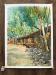 House in Village | Watercolour landscape painting