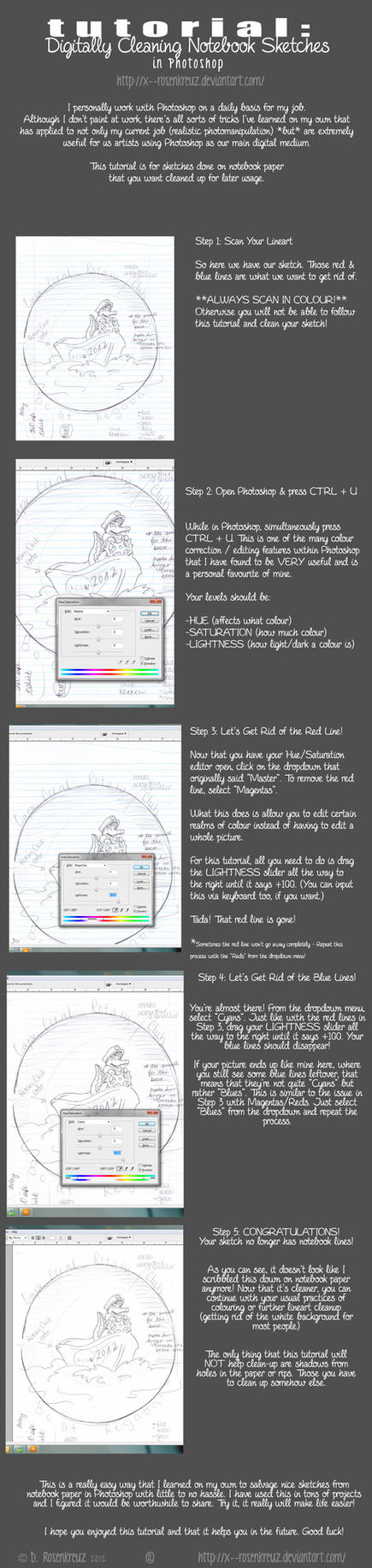 TUTORIAL: Cleaning Notebook Paper Sketches in PS by beastsofbabylon