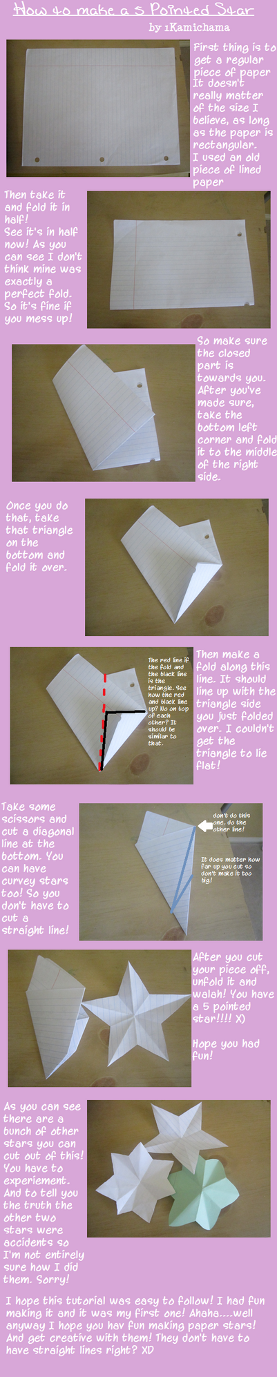 How to make a 5 pointed paper star by 1Kamichama