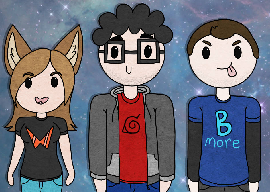 Drawing of me and my friends C: by wolffey