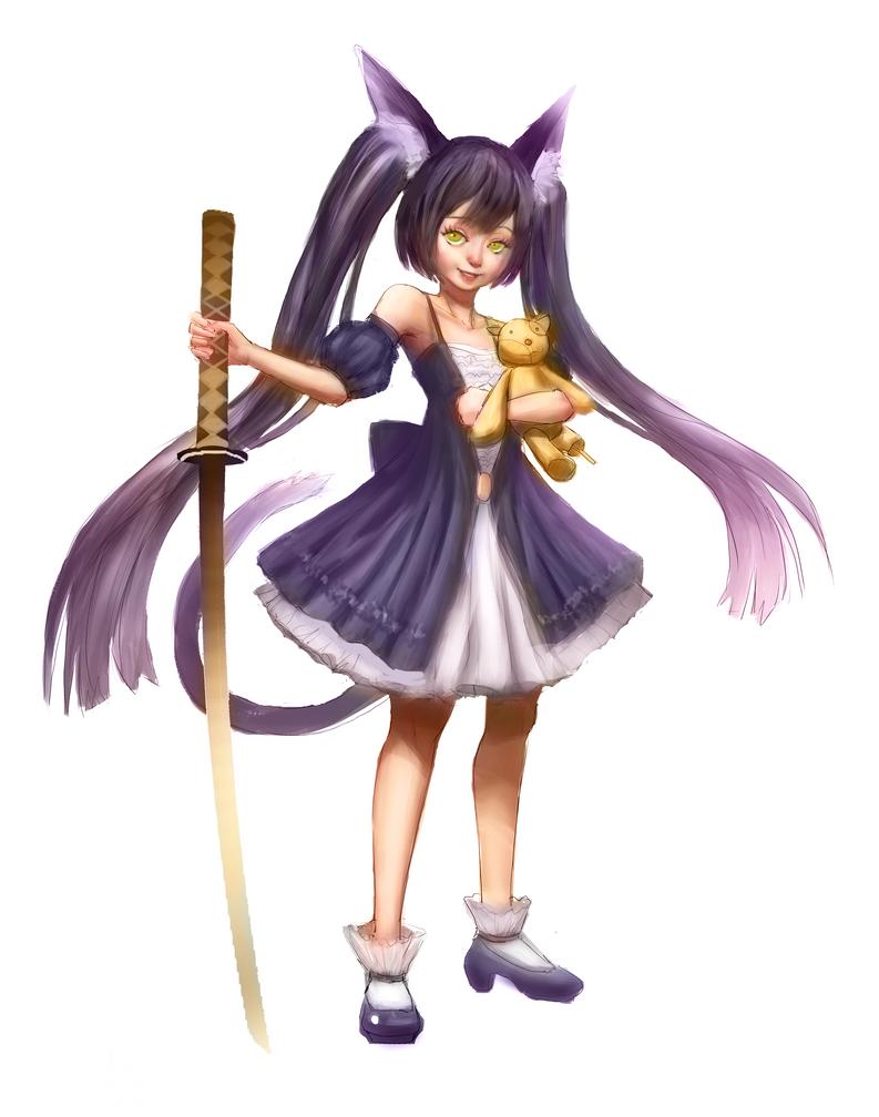 Cat Swordsman by PolkaDotedFlower