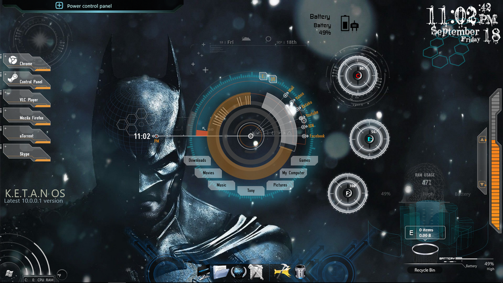 riddler windows 7 rainmeter theme