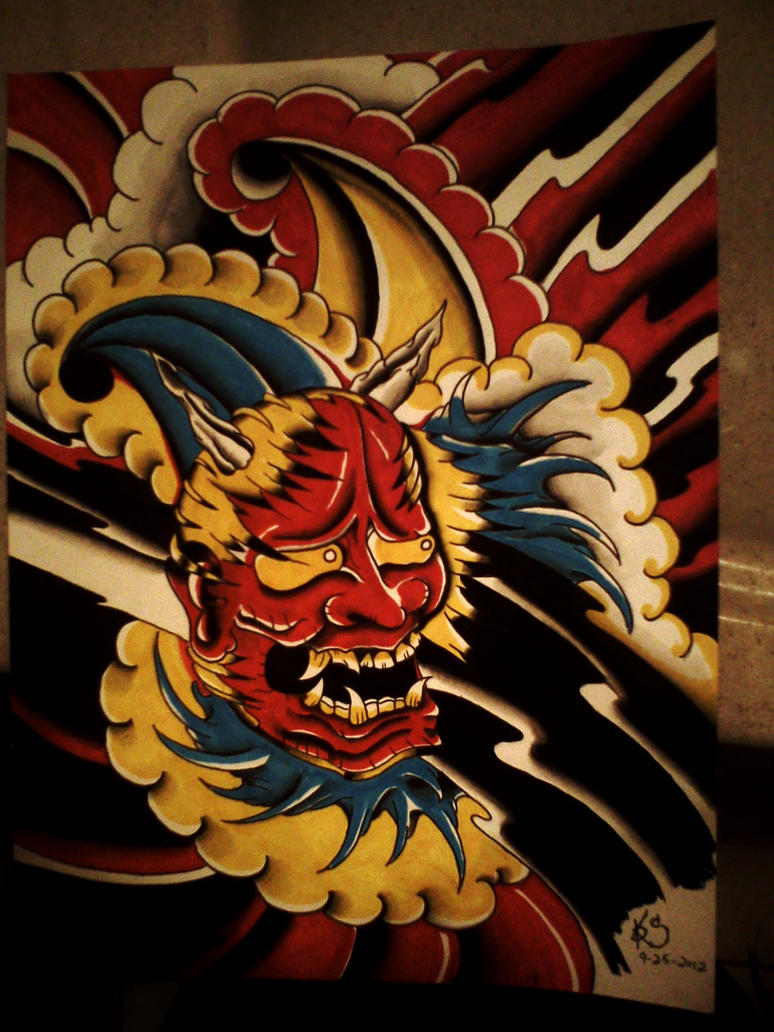 Tattoo flash Hannya mask by Dopehat569 on DeviantArt