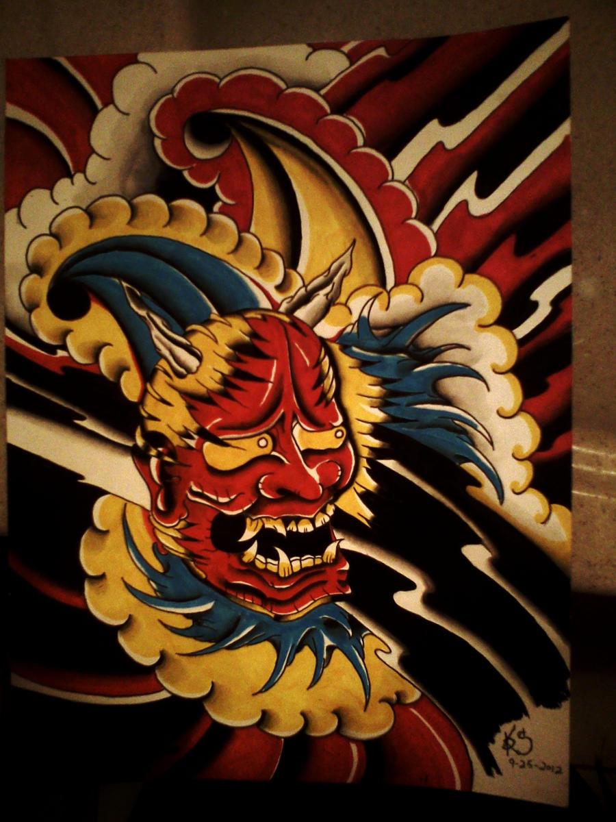 Tattoo flash Hannya mask by Dopehat569 on DeviantArt
