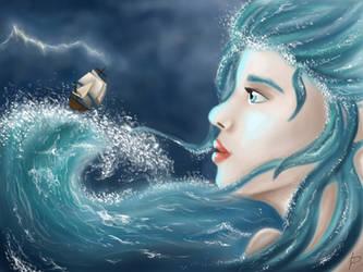 Storm at sea by Aenwynn
