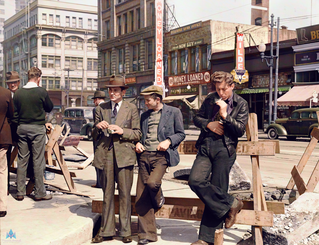 Unemployed men hanging out, San Francisco 1939 by marinamaral