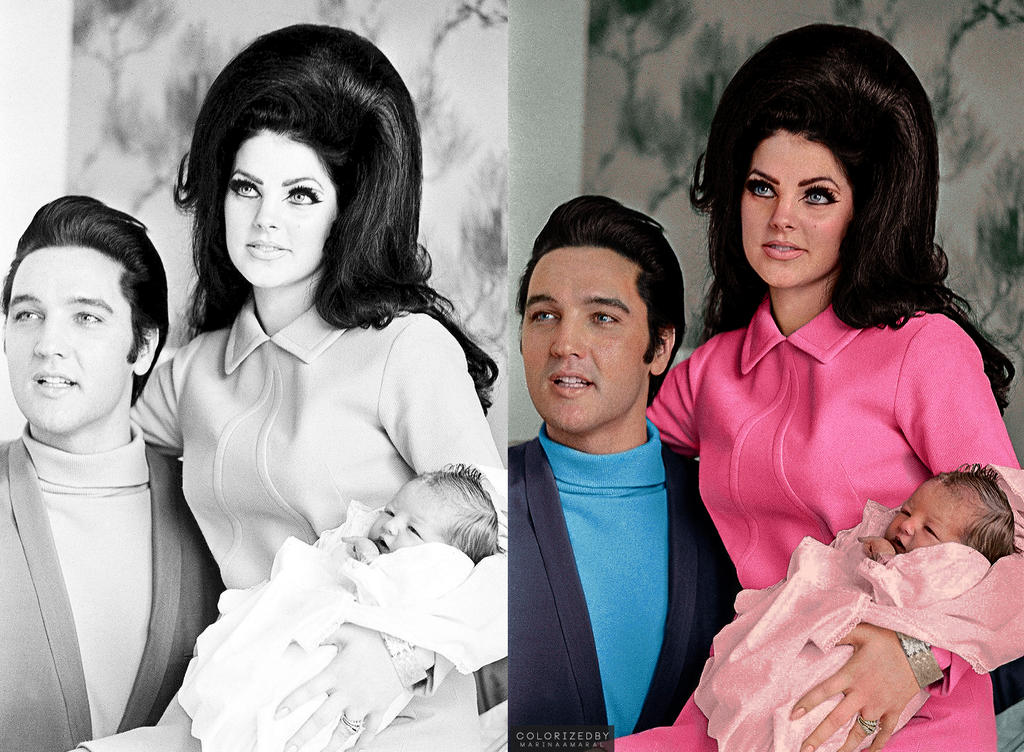 Elvis Presley, Priscilla Presley and Lisa Marie by marinamaral