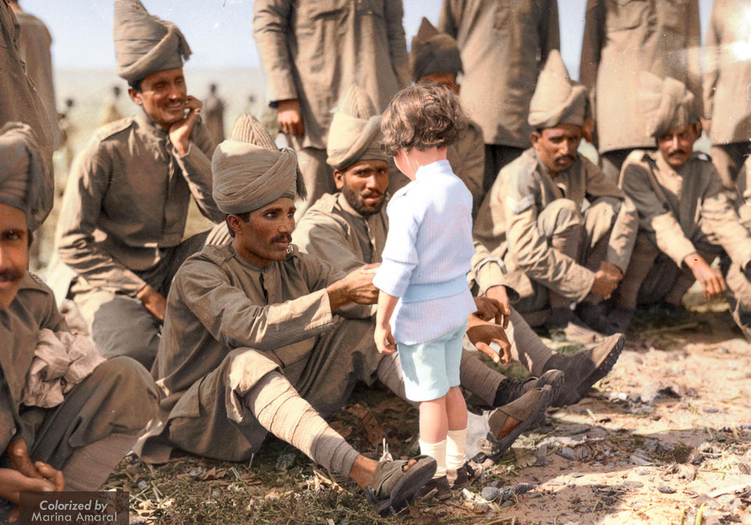 A French boy introduces himself to Indian soldiers by marinamaral