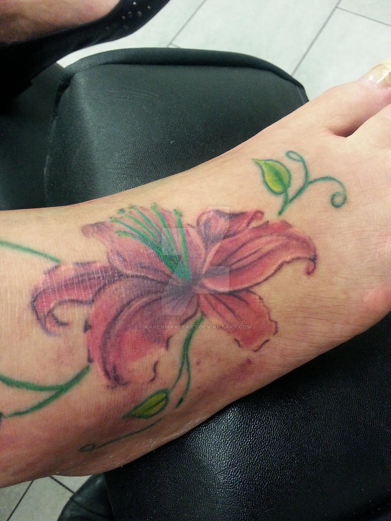 Lily Tattoo On A Foot By Karenmaxeyart On Deviantart