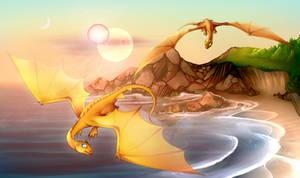 Mating flight of a queen fire-lizard