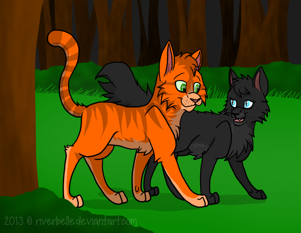 Fireheart and Cinderpaw  Redone  by RiverBelleFireheart And Cinderpaw