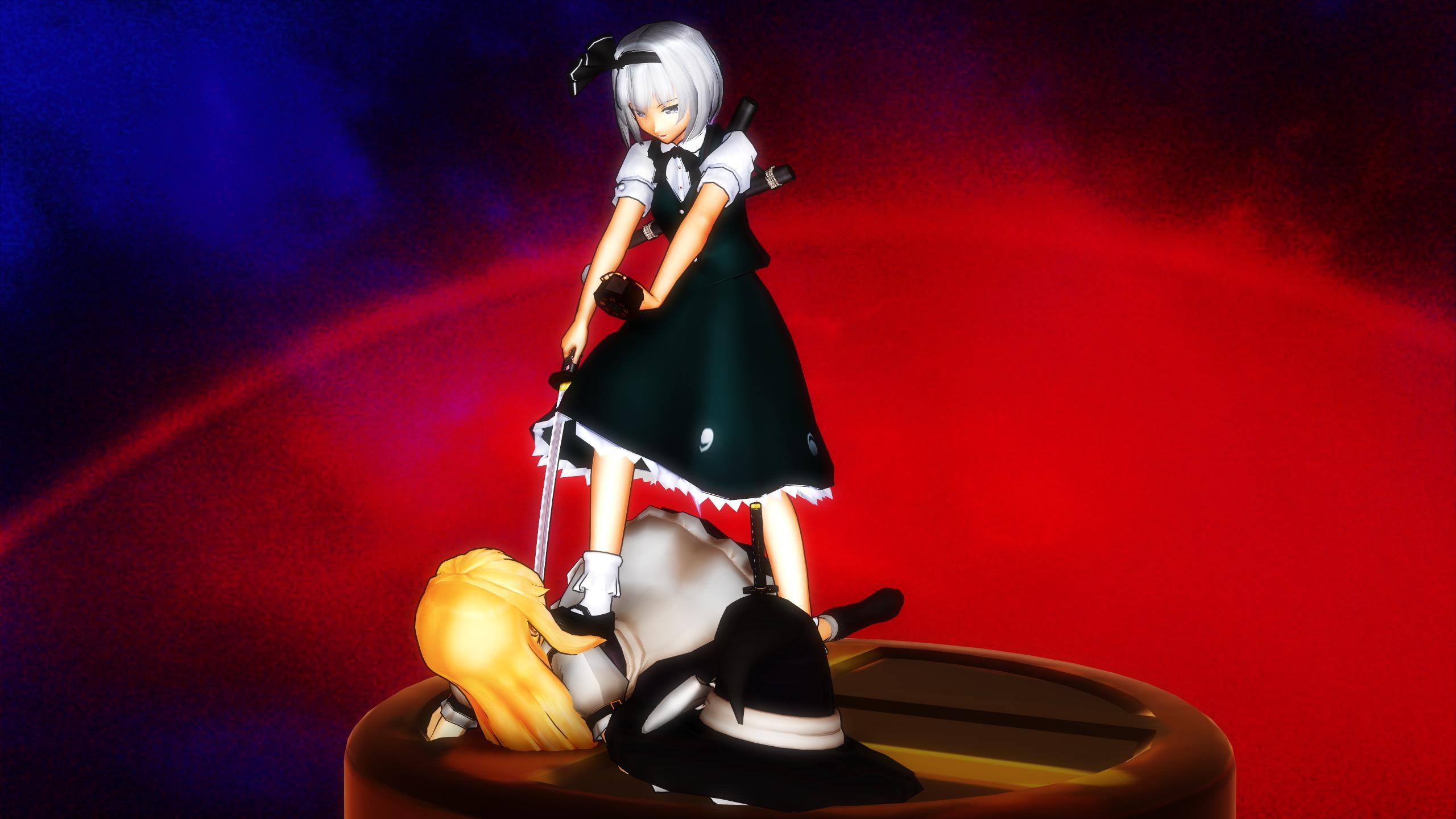 Smash Bros Trophy Youmu-Marisa 2560x1440 by headstert
