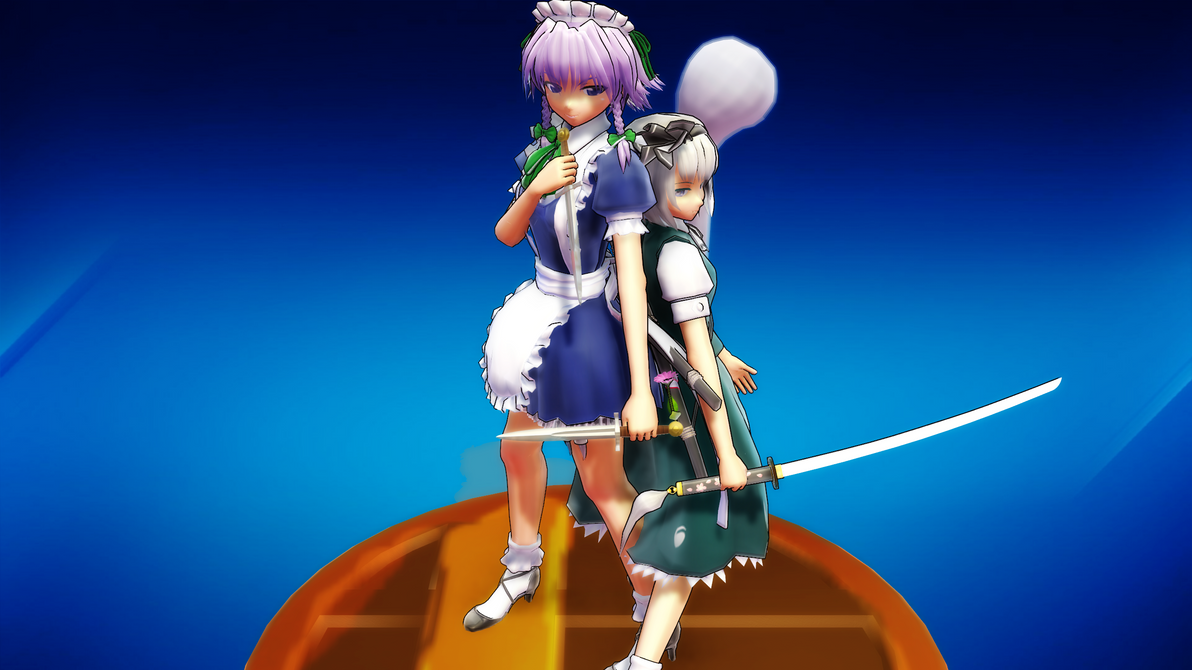 Smash Bros Trophy Youmu-Sakuya 2560x1440 by headstert