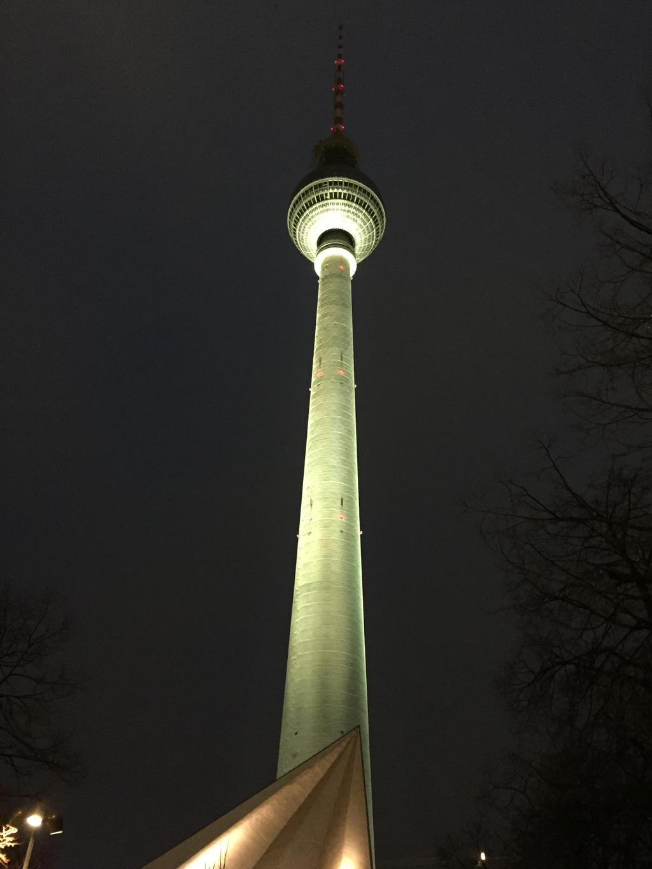 Fernsehturm at night by headstert