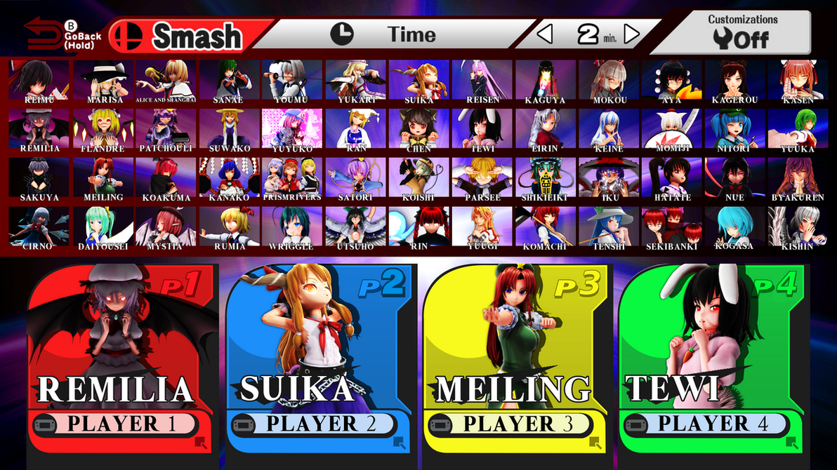 Touhou Smash Bros Roster by headstert
