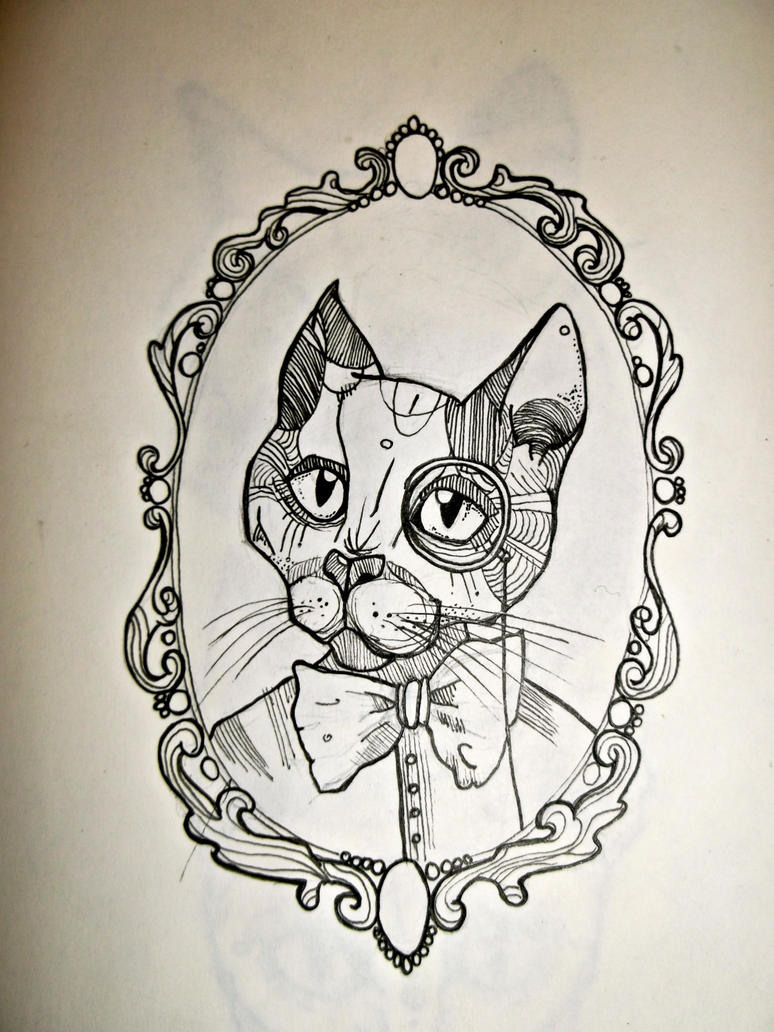 cat tattoo design by ronkedoor on deviantart. Black Bedroom Furniture Sets. Home Design Ideas