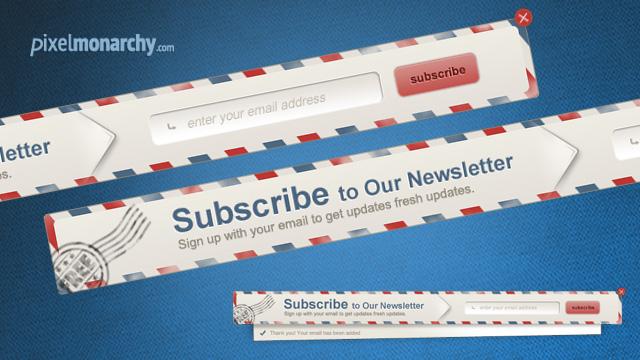 Newsletter Envelope Signup Pop Up Form by vesthar