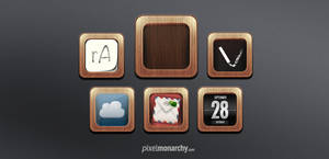 App Icons Wood Frame Template