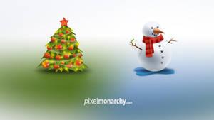 Christmas Tree and Snowman Icons