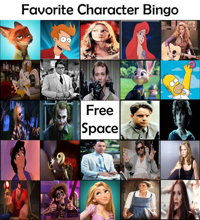 My Favorite Character Bingo Meme by Carriejokerbates