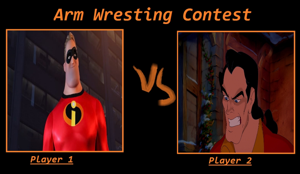 Mr. Incredible Vs Gaston Arm Wrestling Contest Mem by Carriejokerbates