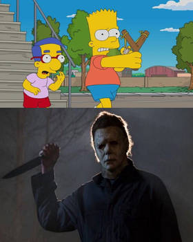 Bart is Ready to Fight Michael Myers