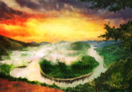 speedpaint | sunset over island