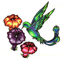 Copic hummingbird