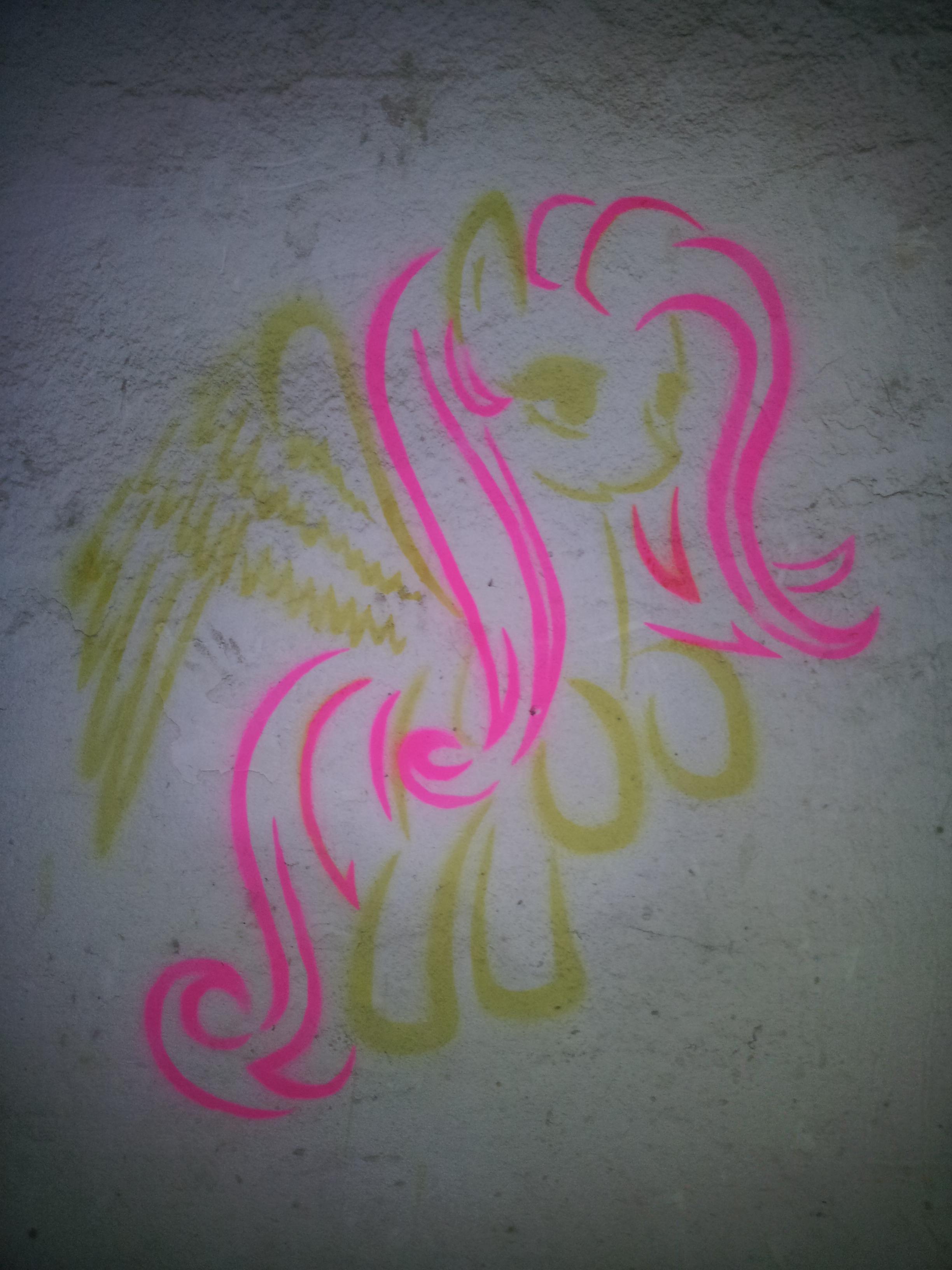 Fluttershy (graffiti) by Chrzanek97