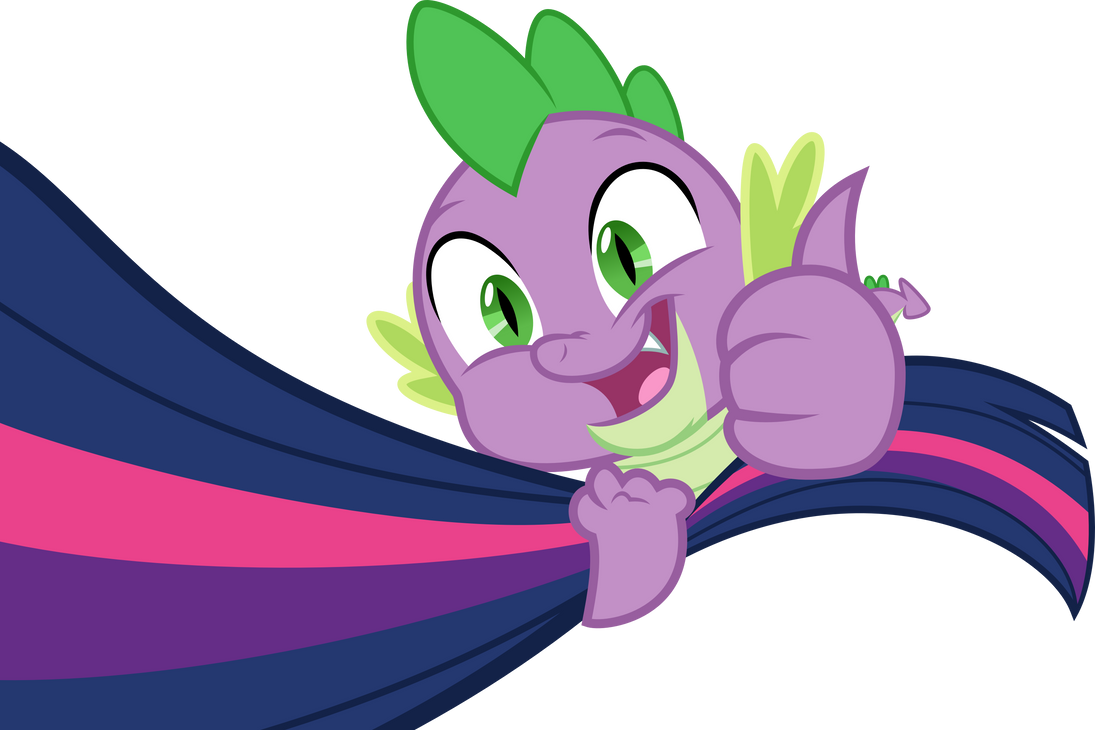 Happy Spike holding up Twilights tail (Vector) by Chrzanek97