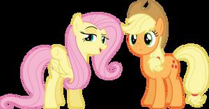 Fluttershy and Applejack (Vector)