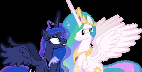 Luna and Celestia emotionally talking (Vector) by Chrzanek97