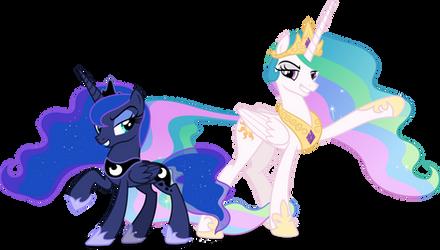 Luna and Celestia unexpected arrival (Vector) by Chrzanek97