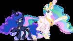 Luna and Celestia unexpected arrival (Vector)