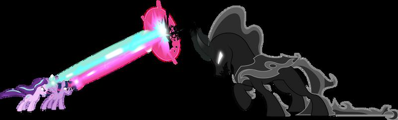 Twilight and Starlight vs Pony of Shadows (Vector)