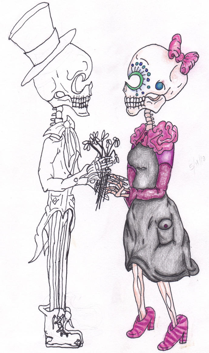 Sugar Skull Couple-Unfinished by ~Caylyngasm on deviantART