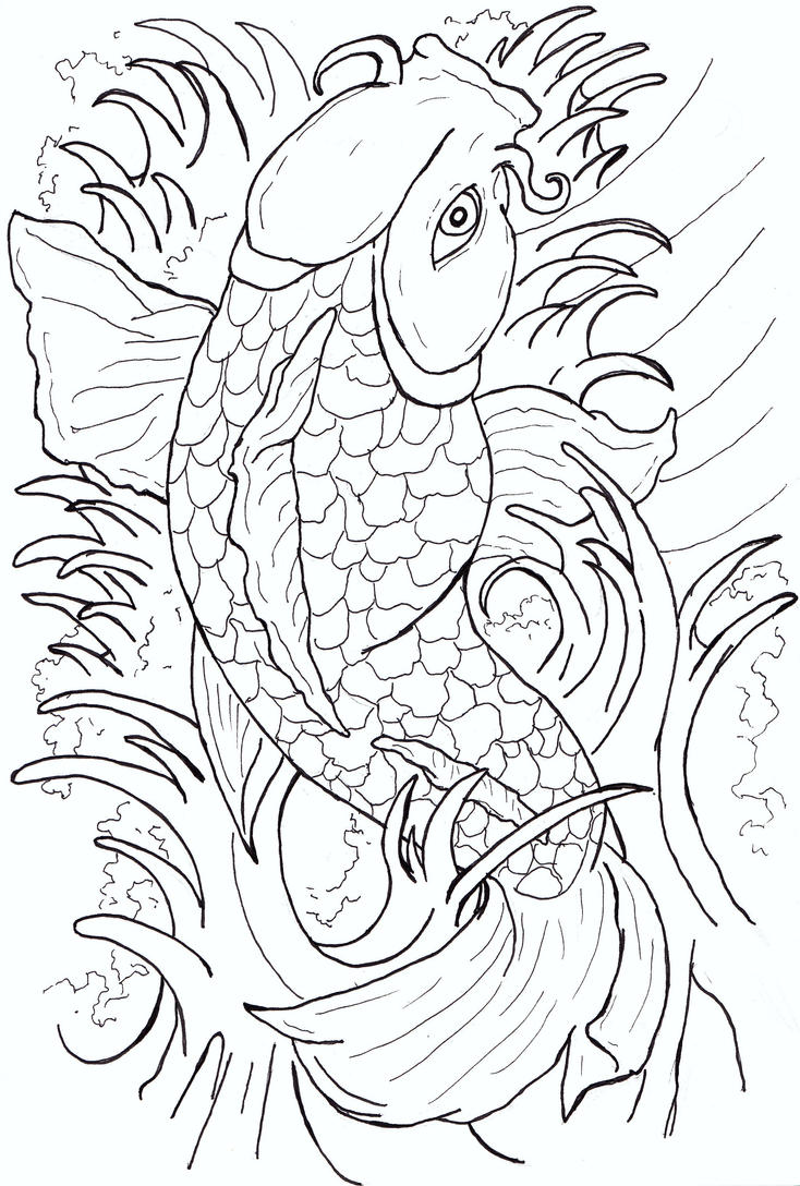 Japanese Tattoo Line Drawing : Japanese koi fish tattoo flash by caylyngasm on deviantart