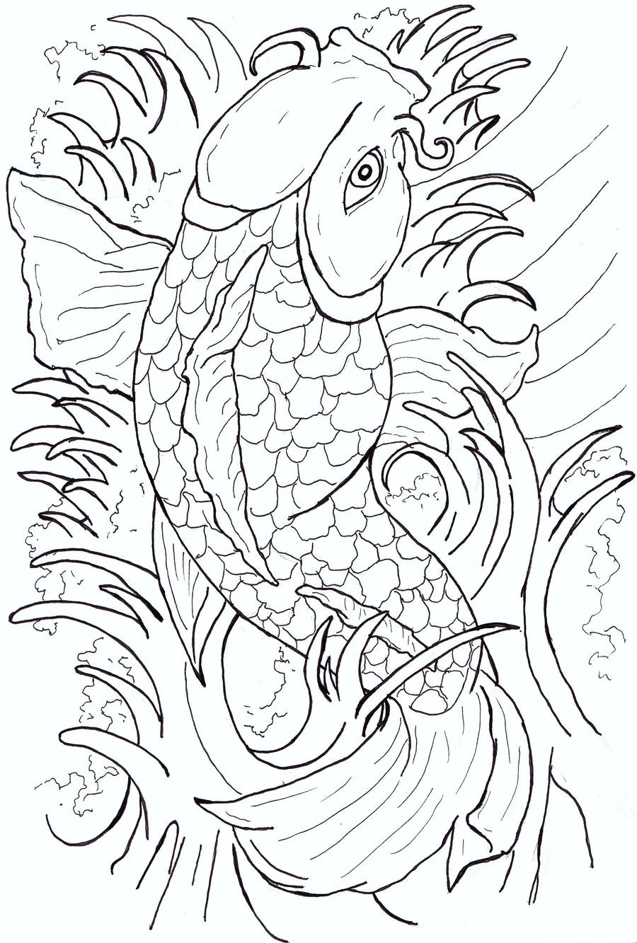 It is a picture of Rare Japanese Koi Fish Drawing