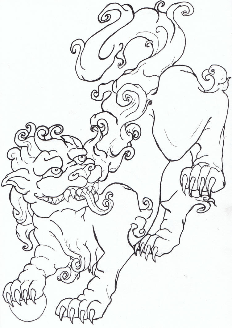 Foo dog flash art by caylyngasm on deviantart for Chinese lion coloring page