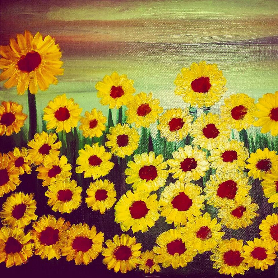 Field of Sunflowers by Caylyngasm