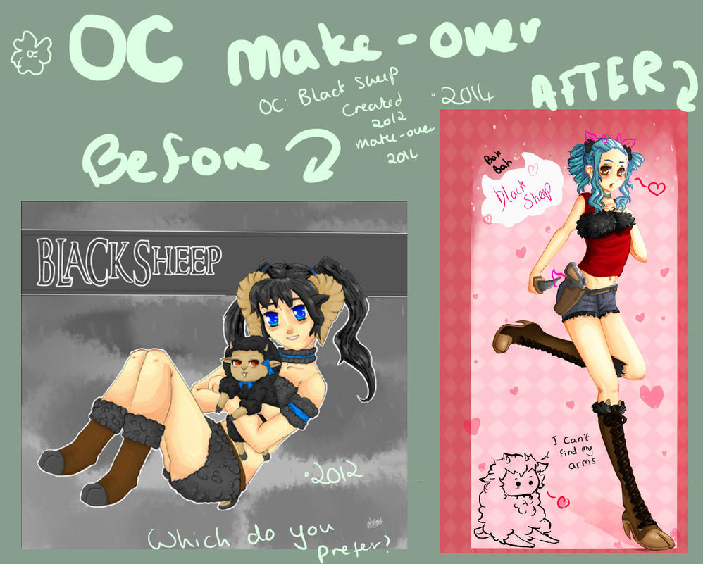 Oc Makeover!!! Black sheep gotta face lift by VictoryCabbage