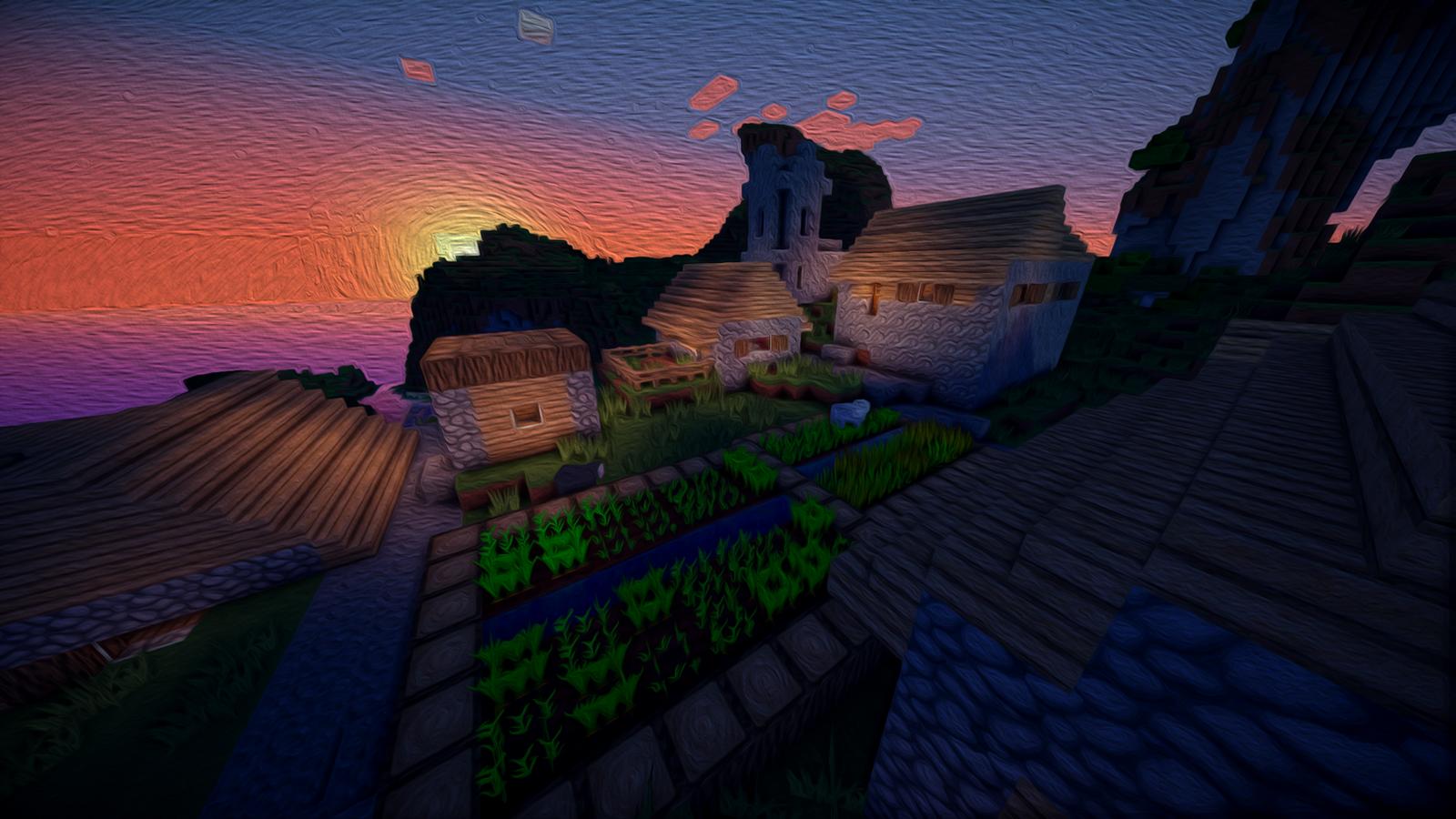 Beautiful Wallpaper Minecraft Night - minecraft_oil_painting__night_village__2__by_stickshift2000-d7yszk3  Trends_548958.png