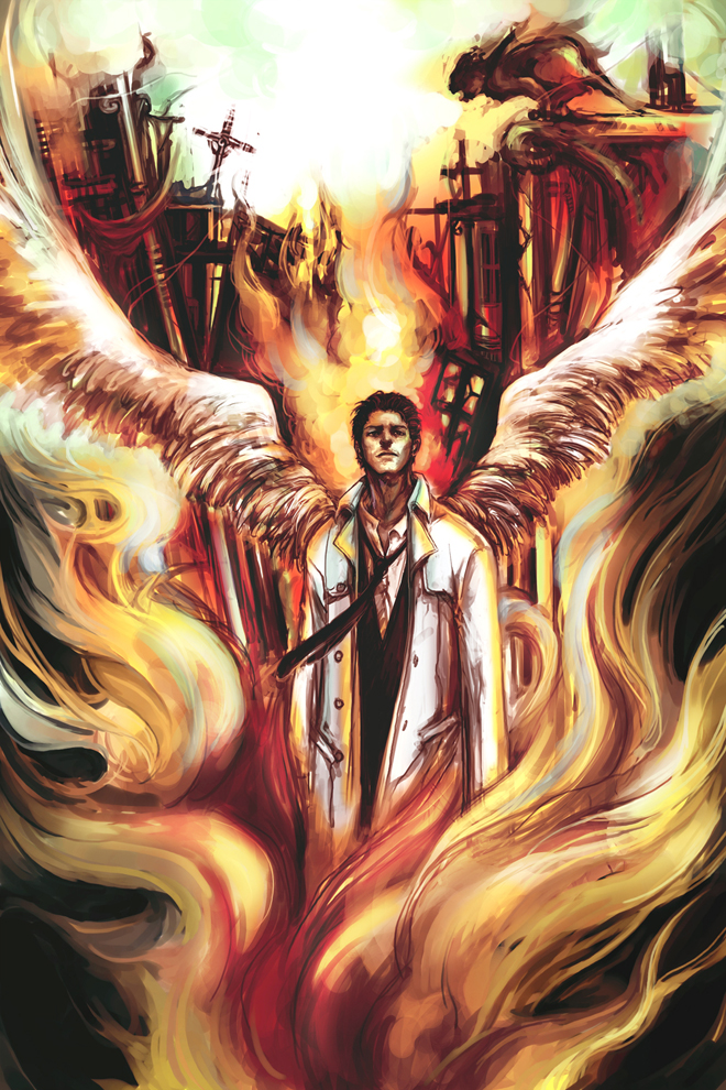Castiel in fire by wuyemantou
