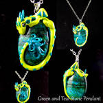Green and Teal Stone with Dragon wrap