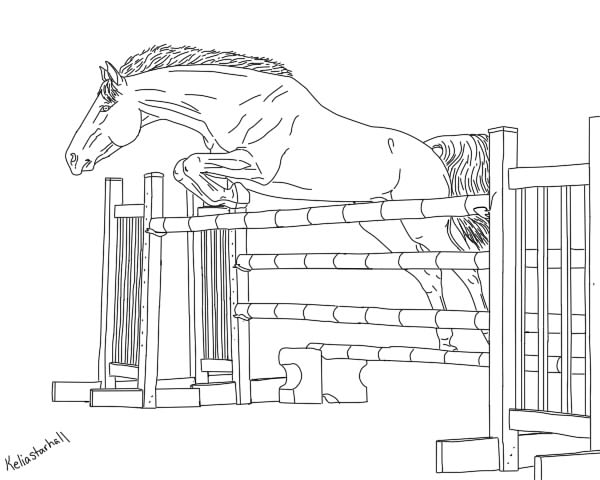 horse jumping coloring pages - photo#21