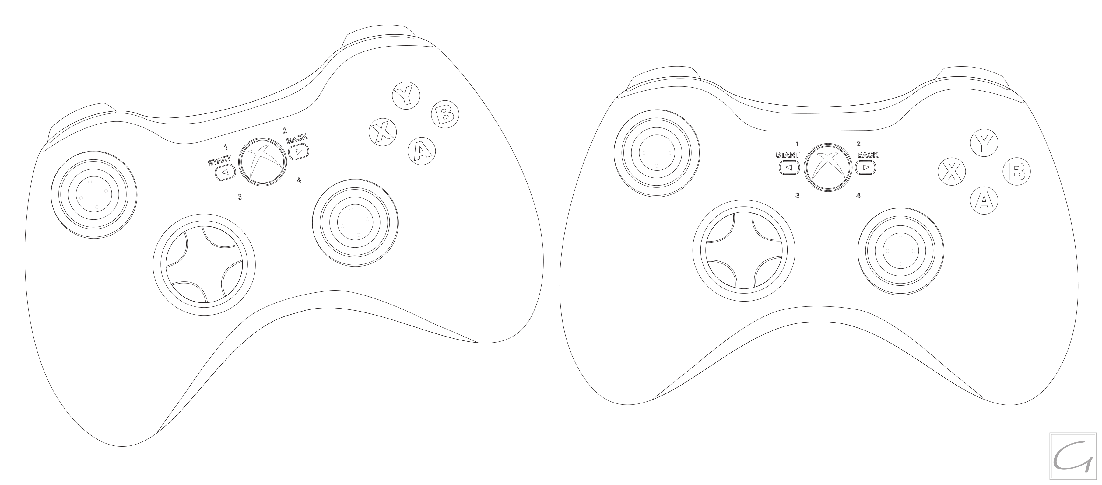 D Line Drawings Xbox One : Xbox controller outline by ghussain on deviantart